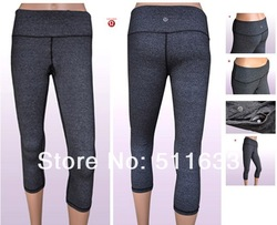 Free shipping great Yoga brand Lululemon product design yoga pants for women lululemon wunder under crops grey size:4-12(China (Mainland))