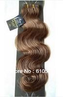 "Virgin Brazilian 3pcs Mixed Lot 12''14""16""18""20""22""24""26'' Remy Human Hair Extensions Weft 100g Wavy #6 Chestnut Brown"