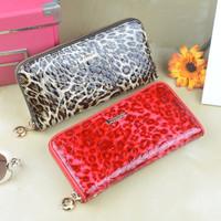 New fashion genuine leather wallts.zipper desgine long leopard wallets,free shipping