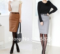free shipping 2013 autumn spring new hight quality Slim hip skirts woolen skirt career skirt OL commuter office with belt