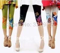 2014 new arrival Retro style women plus size printde floral pants cotton blends capris for women free shipping