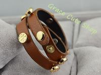 PU Leather Bangles Fashion Bracelet Free Shipping 5A High Quality Package (Dust Bag ,Gift Box) #TB12-Brown