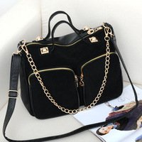 2013 women's nubuck leather handbag fashion big bags fashion chain bag women's portable messenger bag