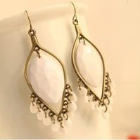 earrings2013 Fashion/Trendy  leopard/bohemian  wate-drop  tassels oval  drop earrings--white  free shipping(min.order $10)fgift