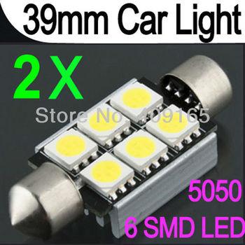 2x 39mm 6 SMD 5050 LED Pure White Car Festoon Interior Dome Light Bulb Lamp DC 12V