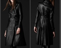 Free shipping- new arrival autumn and winter women leather overcoat long design leather trench PU clothing outerwear