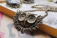 Quality  owl vintage owl long necklace bronze color necklace(min order $10 mixed orde)