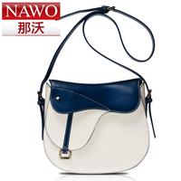 Nawo 2013 blue and white color block women's cowhide handbag one shoulder cross-body saddle bag