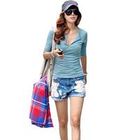 Free shipping  Fashion basic shirt slim all-match low collar t-shirt female mf192  D3