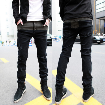 Foreign trade leisure fashion jeans bootcut foot men's cultivate one's morality pants pencil pants, men's trousers