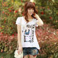 summer plus size clothing o-neck pattern slim basic shirt t-shirt female short-sleeve  free shipping