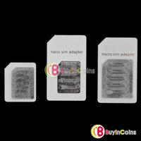 SIM & Micro SIM & Standard SIM Card Slot 3 Adapters Sets for iPhone 5 4 4S [23560|01|01]