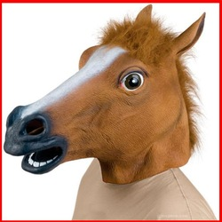 New Horse Head Mask Creepy Halloween Costume Fur Mane Latex Realistic Gag GL-Q2(China (Mainland))