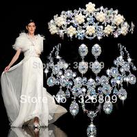 2013 Newest Luxurious wedding jewelry sets  fashion AB Color rhinestone crystal bridal jewelry sets free shipping