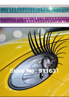 Car Lashes Car Eyelashes With Crystal Diamond 3D Headlight Eyelashes Sticker Eyelashes for Cars New Style Wholesale