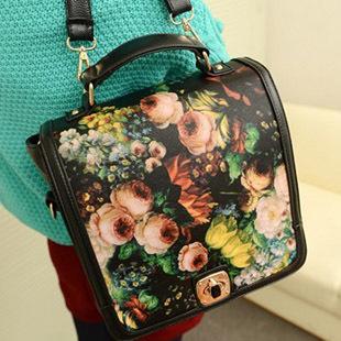 Women's handbag 2013 bags preppy style oil painting big flower shoulder bag handbag double-shoulder school bag