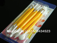wholesale 20 sets of yellow  8pcs modelling tool for fondant cake decoration