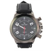 Elegant V6 Round Dial Soft Rubber Band Three Buttons as Ornament Quartz Movement Wrist Watch -Black free shipping