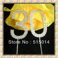 Free Shipping !5 cm Rhinestone Number 30 Cake Topper ,Cake Decoration,Price Negotiable For Large Order