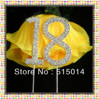 Free Shipping !5 cm Rhinestone Number 18 Cake Topper ,Cake Decoration,Price Negotiable For Large Order