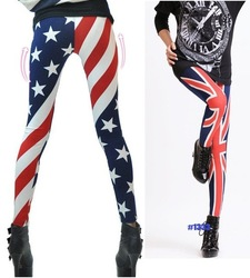 sexy Rock Punk Funky US/UK Flag Print Summer Skinny Tights Leggings Tights Stretch Ninth Pants One size #1333(China (Mainland))