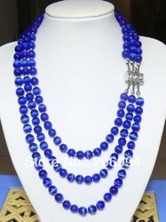 factory price new arrive Beautiful! 8mm 3Strands Blue Mexican Opal Necklace fashion jewelry(China (Mainland))