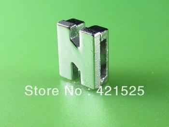 "50PCS Free Shipping 8mm  "" N ""  No Rhinestone Slide Letters SL0170 Fit 8mm DIY Wristband /Bracelet"