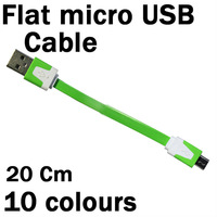 Hot Sell 20cm Short Flat Noodle Charging Cord Micro USB Data Sync Cable For Samsung HTC Nokia 10colors 1000pcs