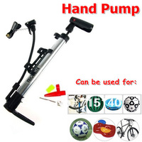 Free Shiping ! Portable Aluminum Hand Pump Inflator for Bike Bicycle Motorcycle Cars Basketball