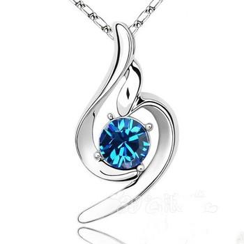 0.60 Ct Round Blue Topaz Heart Shape Silver Pendant +45 cm women necklace jewelry silver blue