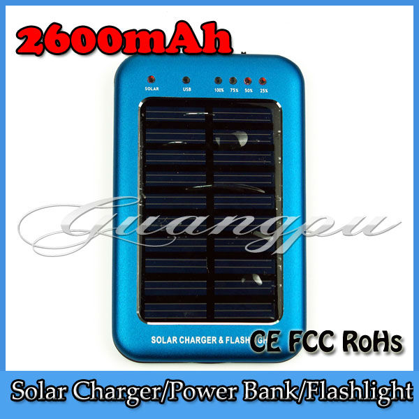 4 Colors 2600mAh Portable Solar Charger for Mobile Phone Laptop Notebook MP3 MP4 Solar Power Bank Pack Silver, Blue, Black, Red(China (Mainland))