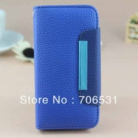 Two Card Slot And Money Pocket Wallet Leather Case for iPhone 4S 4 4G