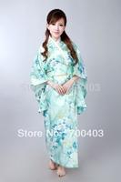 2014  Fashion  Vintage Japanese Women's Kimono Obi Party Evening Dress Butterfly Free Shipping H0047