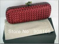 high-quality handmade silk dark red women woven handbag,2013 fashion evening handbag free shipping