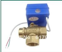 3 way motorized ball valve DN20. electric ball valve. valvula de bola motorizada    /freeshipping