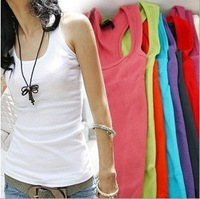 New  fashion women's Sleeveless Tank Tops Sleeve Solid Color T-Shirt  Vest  Free  shipping