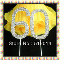 Free Shipping !5 cm Rhinestone Number 60 Cake Topper ,Cake Decoration,Price Negotiable For Large Order