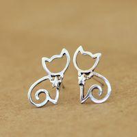 Silver female jewelry thai silver kitten 925 pure silver stud earring anti-allergic