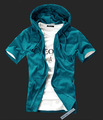 Free shipping!2013 Man fashion casual short sleeve hoodies shirts slim fit hooded cardigan sweatshirt,030