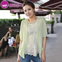 New arrival summer women's solid color V-neck half sleeve pocket loose chiffon cardigan 5492