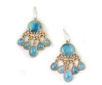 Fashion Hot Sale New Arrival Gold Sparkling Rhinestone Natural Stone Tassel Drop Earrings E1047