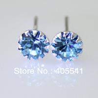 Round Blue Topaz Sterling Silver Earrings Blue zircon earrings free shipping