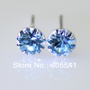 Round Blue Topaz Sterling Silver Earrings Blue zircon earrings free shipping