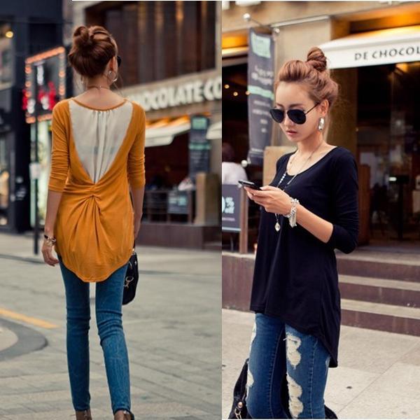 2013 Women's Fashion Chiffon Splicing Long Sleeve  Roud Neck Knit Top Casual T-shirt Tee Top # L034788