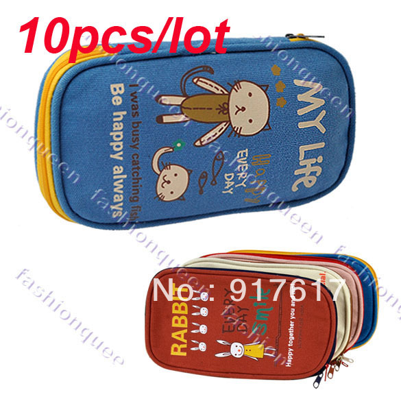 10pcs/lot Korean Canvas Cartoon Pen Pencil Bag Lovely Animal Pen Bags Free shipping 9515(China (Mainland))
