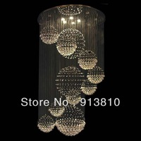 FREE SHIPPING+ LED BULB 4W 110-240V  MORDERN BUBBLES FALLS DESIGN K9 CRYSTAL CHANDELIER FIXTURE  FOYER PARLOR LIVING ROOM VILLA