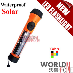 FREE SHIPPING! TS095 Waterproof Led Solar Power Flashlight Torch with Battery Backup, 7 colors option (WF-LF30/01)(China (Mainland))