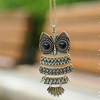 Cheap Vintage Metal Bronze Owl Necklace For Women & Men  Free Shipping 24PCS/LOT