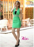 Latest women chiffon v neck spaghetti strap dress fashion short mini dress club overalls lady lace sexy dress free shipping 8855