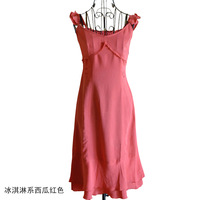Free shipping Sweet ice cream small ruffle slim all-match one-piece dress